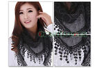 Sexy Lace Flower Triangle Chapel Veil Mantilla Scarf Shawl Wrap Funky Tassel New