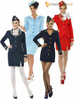 Air Hostess Stewardess Cabin Crew Ladies Virgin Style Fancy Dress Costume + Hat