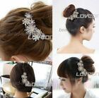 Women Flower Pattern Charming crystal Rhinestone Tuck Comb Bridal Hair Pin Clip