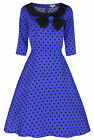 NEW LINDY BOP BLUE POLKA DOT COLLARED BOW VINTAGE 1950's PARISIAN STYLE DRESS
