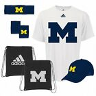 NCAA Michigan Wolverines Adidas 5-Piece Fan Combo Pack Bag Hat Shirt Bands Cap