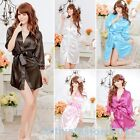 Women's Nightdress Lingerie Sleepwear ROBE Bathrobes+G-string Thongs Pajamas