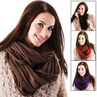 Ladies Glitter Knit Snood Scarf Hood Neck Warmer Purple Brown Burnt Orange Black