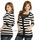 Striped Button Basic Casual Open Front 3/4 Sleeve Pockets Layer Cardigan Sweater