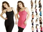 XL~ NoBra Plain Camisole Layering Basic Long Stretchy Casual Cami Tank Shirt Top