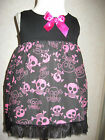NEW Baby Girls Black Pink white Blue Funky Skulls top Dress Goth Rock Punk Gift