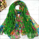 Flowers Colorful Hot Lady Women's Long Scarf Wraps Shawl Stole Soft Scarves W006