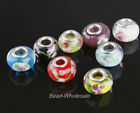 10pcs Porcelain&glass crystal Flower Big Hole Beads European Beads for Bracelet