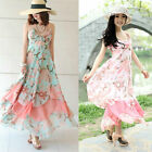Hot Sexy Women Floral V-Neck Beach Boho Maxi Long Sun Summer Dress S/M/L/XL/XXL