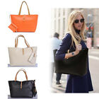 New Women's Classic PU leather Tote Bag Handbag Black Shoulder Bags With Purse