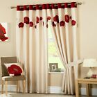 Curtina Danielle Floral Applique Faux Silk Eyelet Lined Curtains, Red