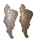 1570 Antiqued Brass Sterling Silver Angel Wing Centerpiece Component Charm 2 Qty