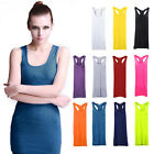 Sexy Candy Color Long T-shirt Dresss Casual Modal Basic Vest Dress Tank Top