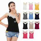 Sexy Womens Lace Flower Crochet Ribbed Casual Cami Tank Top Sleeveless T-shirt