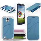 New Curves Leather Sleep Mode Cover Case For Samsung Galaxy S4 SIV i9500 + Film