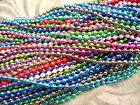 "Necklace Ball Chain 2.4mm MANY COLORS White Red Blue Green 16"" to 28"" 1 or 5 Qty"