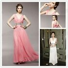 Fashion Hot Women Girls V-neck Pary Long Dresses Classic Rhinestone Dress