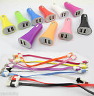 10cm USB Cable 2 Port Car Charger For Samsung Galaxy S3 S2 S S4 Ace Note i9500