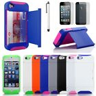 Silicone Credit Card Holder Hybrid Rubber Case Cover w/ Stand for iPhone 5 4 4S