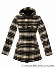 Ladies Hooded Duffle Jacket, Black and White Check, All Sizes