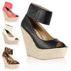 New Ladies Espadrille Womens Peep Toe Summer Wedges High Heels Shoes Size 4-9