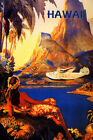 Hawaii Vintage Travel Poster Lady Airplane Plane Beach Reproduction FREE S/H