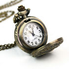 Vintage Steampunk Retro Bronze Pocket Watch Quartz Pendant Necklace Chain Gift