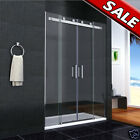 Luxury Double Sliding Shower Door Enclosure Glass Screen Side Panel Stone Tray I