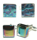 BEAUTIFUL MOSAIC GLASS TILE CUFF LINKS - 2 CHOICES