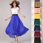NEW Pop Lady Two Layers Chiffon pleated Long Flowing Dress Elastic Waist Skirt