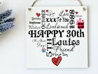 Birthday Personalised Typography Wooden Plaque  20th 30th 40th 50th etc Gift W38