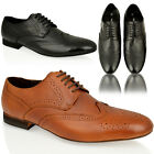 MENS REAL LEATHER FORMAL WORK OFFICE LACE UP DRESS BLACK SMART BROGUE SHOES SIZE