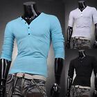 V-Neck T-Shirts Designer Mens Boys Slim Long Sleeve Comfy Tops Tee Basic Shirts