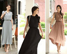 1PC Women Summer Retro Pleated Chiffon Dress Sleeveless Slim Long Skirt M0621