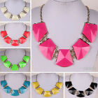 Fashion lady irregular geometry punk candy color bib collar clavicle necklace