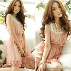 2013 Women Lady Crew Neck Chiffon Casual Summer Ruffles Mini Dress Sundress Pink
