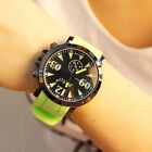 Fashion Unisex Rubber Jelly Gel Candy Color Quartz Sports Silicone Wrist Watch