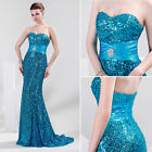 New Shinning Sequins Sexy Long Formal Prom Party Ball Gown Wedding Evening Dress