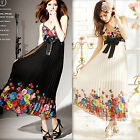 Sexy Women Summer Colorful Casual Floral Pleated Chiffon Bowknot Maxi Dress New