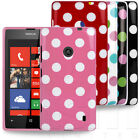 STYLISH POLKA DOT SPOTS PATTERN RUBBER GEL CASE COVER FOR NOKIA LUMIA 520 PHONE