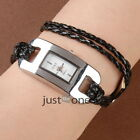 Girl Women Rectangle Dial Braided Rope Wristwatch Wrist Chain Watch PU Alloy New