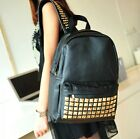 Faux Leather Studded Backpack School Bag Rivet w/ Front Pocket Black Bag