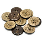 30PCs Sewing Scrapbooking Coconut Shell Buttons 2Holes Pattern Brown M0891
