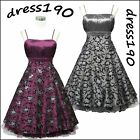 dress190 FLORAL FLOCK 50s ROCKABILLY SWING VINTAGE PROM COCKTAIL PARTY DRESS