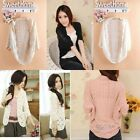 Women's Hollow out Knitted Crochet Batwing Sleeve Waistcoat Cardigan Sweater