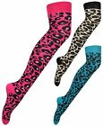 New Womens Leopard Animal Print Pattern Ladies Long Overknee Cotton Casual Socks