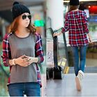New Womens Long Sleeve Round Neck Plaid Checked Casual Loose T-shirt Blouse Tops