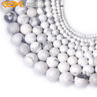 "Natural White Round Howlite Gemstone Jewelry Making Beads Strand 15"",Size Pick"