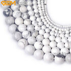 "Natural Stone Genuine White Howlite Gemstone Beads For Jewelry Making 15"" Bulk"