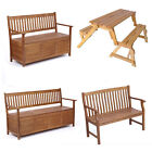 Garden Patio Outdoor Solid Hardwood Wooden Bench Seat Storage Benches Furniture